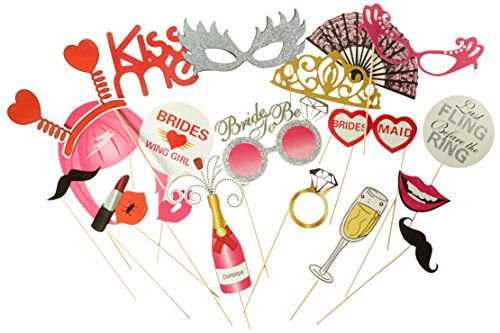 Bachelorette Party Favors, Photo Booth Props 22-Piece Kit - Bridal Wedding Shower Supplies - Glasses, Masks, Tiaras, Mustaches On Sticks - Pre-Assembled - Girls Night Out (Shot Glass Bachelorette Tiara)
