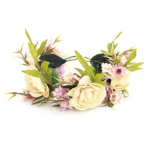 Headband Wreath Floral Garland Hairband with Adjustable Ribbon for Woman Girls Wedding Party ()