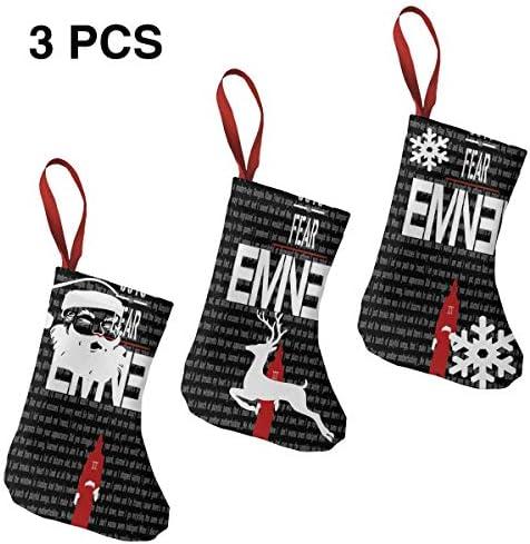 クリスマスの日の靴下 (ソックス3個)クリスマスデコレーションソックス Eminem クリスマス、ハロウィン 家庭用、ショッピングモール用、お祝いの雰囲気を加える 人気を高める、販売、プロモーション、年次式