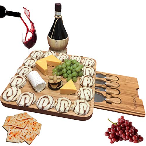 Unique gifts for Mom, Mothers, Women, Men Housewarming, Wedding, Birthday, Hostess, Bamboo Cheese Board w/Cutlery Set, Wood Charcuterie Platter & Meat Server, 4 Stainless Steel Knife, Slide-Out Drawer by iBambooMart