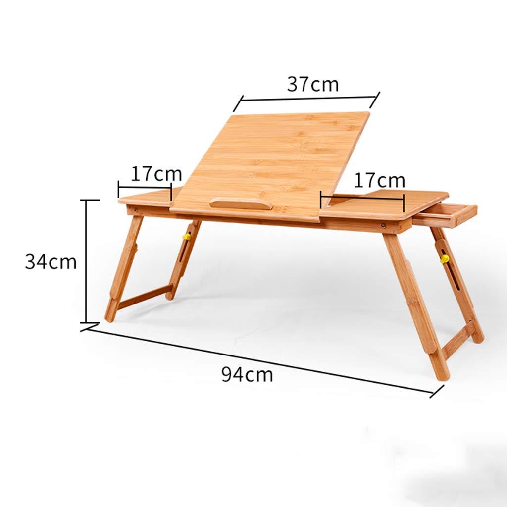 ポータブルホームリムーバブル折りたたみテーブルラップトップコンピュータデスク、マルチファウンダブル調節可能なベッドトレイ引き出し付きテーブル自然な竹の木材  C B07GFFQ389