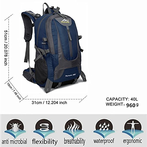 Mens Rucksack Bag Outdoor Camping 40L Christmas Bike Gift blue Backpack Breathable Best Sports Travel Waterproof Hiking Dark zqHdxH