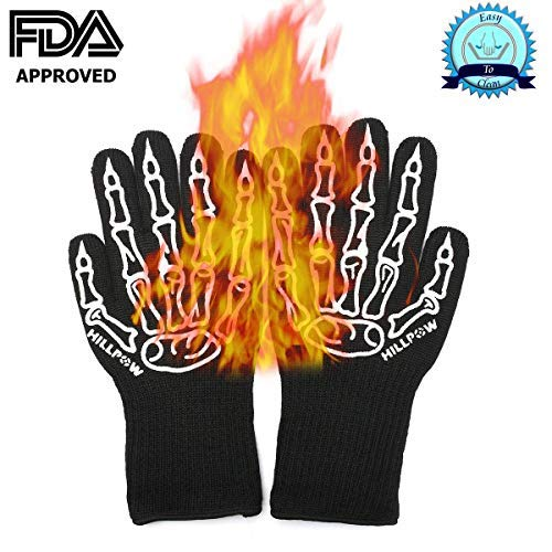 Heat Resistant Gloves Protective Gloves Oven Mitts BBQ Gloves Barbecue Gloves Grill Gloves Kitchen Gloves Best Cooking Silicone Gloves For Barbecue Grilling Boiling Outdoor and Kitchen (Black Gloves) from HILLPOW