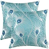 CaliTime Pack of 2 Throw Pillow Covers Cases Couch Sofa Home Decoration Modern Peacock Feathers 18 X 18 inches Teal