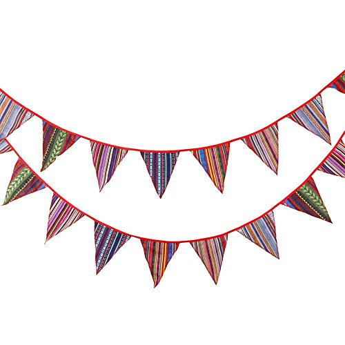 11 Feet Colorful Pennant Bunting String Banner Flags Outdoor Indoor Flag Banner Polyester Cloth Fabric Triangle Flags Decoration Flag for Birthday Parties Wedding Ceremonies Tent Camping Gypsy Style (Outdoor Banner)