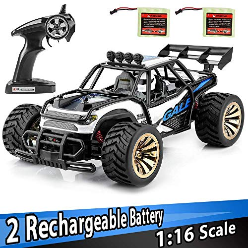 (Distianert TMUSWJL00010   2.4Ghz Radio Remote Control Car 2W 20Mph High Speed Racing Monster Truck with 2 Recharger Battery-Best Gift for Kids, Blue)