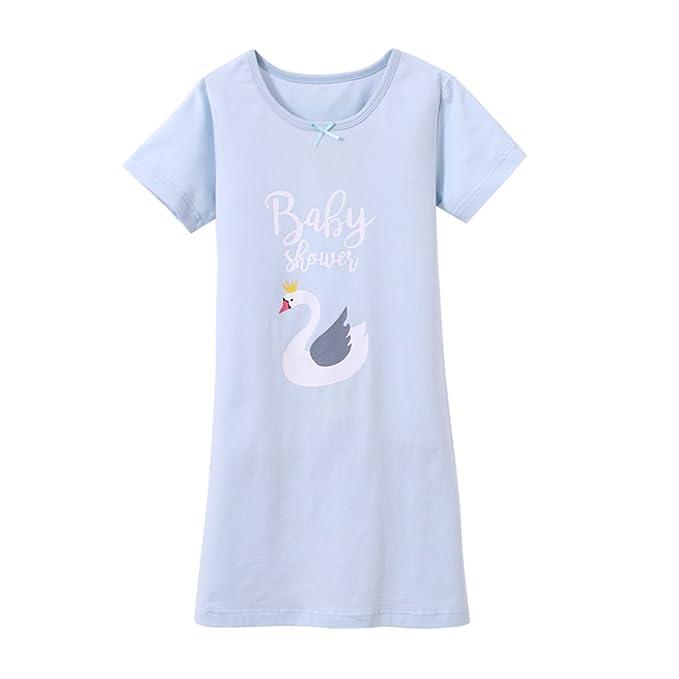 SYROSA Camisón Niños Niña Chica Manga Corta Verano Pijamas en Algodón Cisne Azul 3-4años