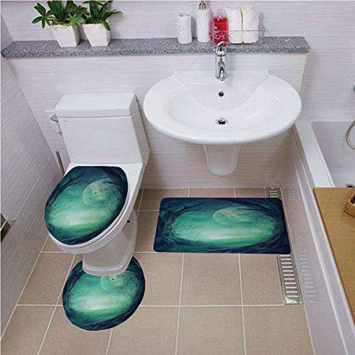 haped Toilet Mat Area Rug Toilet Lid Covers 3PCS,Gothic Decor,Misty Horror Illustration of Autumn Valley with Woods Spooky Tree And Full Moon Scene,Navy Green ,Bath mat set Round-S ()