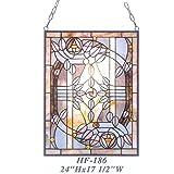 HF-186 Tiffany Style Stained Glass Purple Tulip Art Decorative Window Hanging Glass Panel Suncatcher, 24''x17.5''