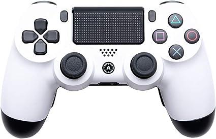 PS4 DualShock controlador inalámbrico personalizado. AiMControllers diseño blanco con 4 palas. Triángulo superior izquierdo cuadrado, inferior izquierdo X, parte superior derecha, inferior derecha o sin necesidad de remodelación: Amazon.es: Electrónica