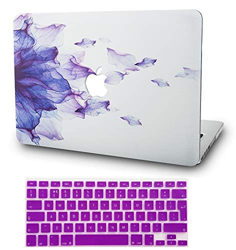 """KECC Laptop Case for MacBook Air 13"""" Retina (2020/2019/2018, Touch ID) w/Keyboard Cover Plastic Hard Shell Case A1932 2 in 1 Bundle (Purple Flower)"""