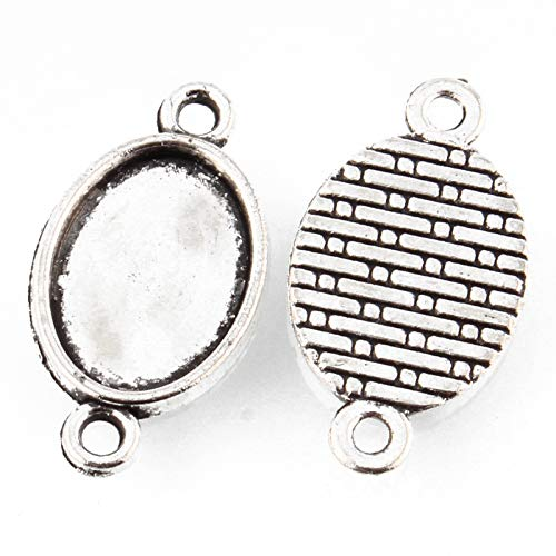 Pandahall 50pcs Vintage Tibetan Style Antique Silver Blank Bezel Cabochon Settings 14x10mm Inner Diameter Flat Oval Frame Pendant Tray Chandelier Link Connector Charms