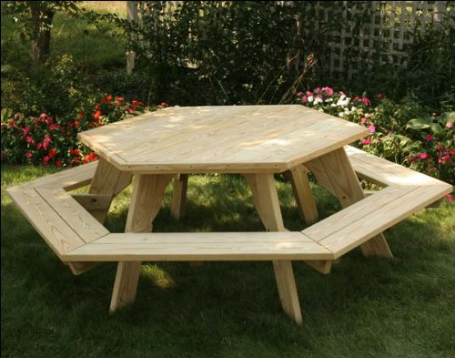 Fifthroom Hexagon Picnic Table, Treated Pine Wood, Outdoor Dining Set