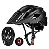 CIGNA Mountain Bike Helmet with Rechargeable Rear Light Detachable Visor Adjustable MTB Cycling Bicycle Helmets for Adults Men/Women
