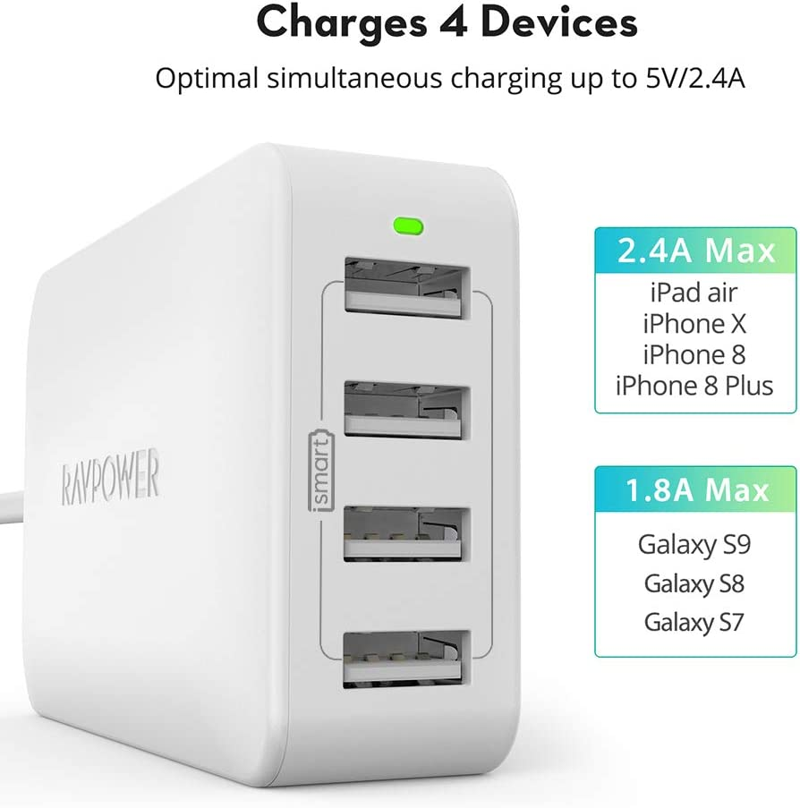 iPad Pro Air Mini RAVPower 4-Port USB Charger 40W 8A Multi Charger Compatible with iPhone 11 Pro Max XS Max XR X 8 7 Plus Black USB Charging Station Tablet and More Galaxy S9 S8 S7 S6 Edge