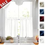 24 inch White Kitchen Tiers Semi Sheer Café Curtains Rod Pocket Casual Weave Textured Half Window Curtains for Bathroom 2 Panels