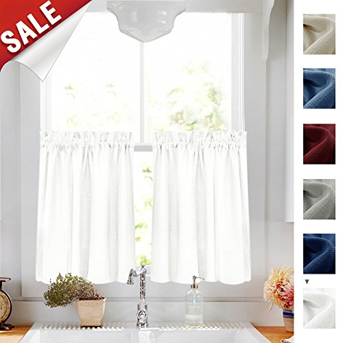 (24 inch White Kitchen Tiers Semi Sheer CAF?Curtains Rod Pocket Casual Weave Textured Half Window Curtains for Bathroom 2 Panels)