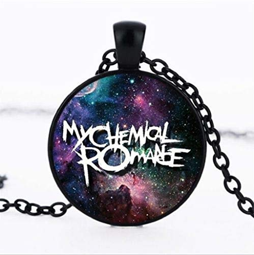 My Chemical Romance Photo Glass Dome Black Chain Pendant Necklace -