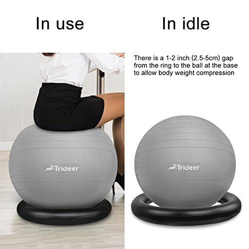 Trideer Exercise Ball Chair, Stability Ball with Ring & Pump, Flexible Seating, Improves Balance, Core Strength & Posture (Office & Home & Classroom) (Ball with Ring (Silver), 65cm) by Trideer (Image #3)