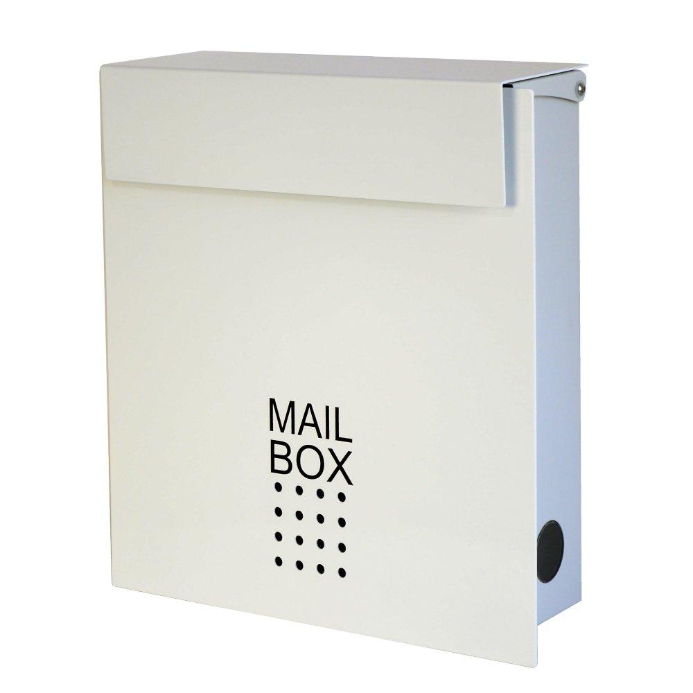 郵便ポスト 郵便受け メールボックス 壁掛け EUROデザイナーズポスト MB4902 マグネット開閉タイプ 鍵付き ベージュ MB4902-KM-WHITE 13 B00BQU7OMA 16800 ホワイト(鍵マグネット両用) ホワイト(鍵マグネット両用)