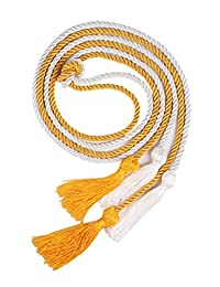 """Double Graduation Honor Cords - White and Gold,68"""" Long"""