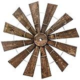 42'' Round Large Rustic Farmhouse Wood Windmill Wall Art
