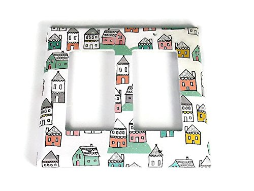 Double Rocker Light Switch Plate in Tiny Town (287DR)
