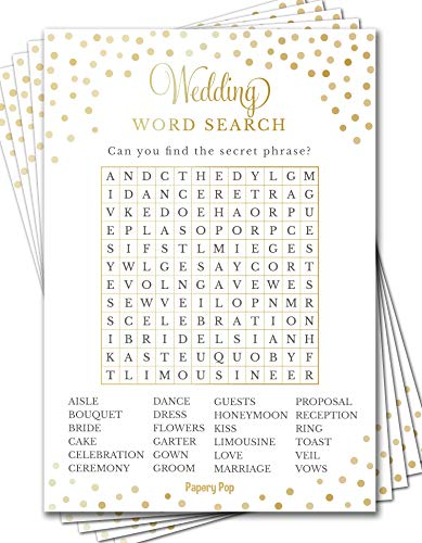 Wedding Word Search Game Cards (50 Pack) - Bridal Shower Games - Bachelorette Party Games Ideas Activities -