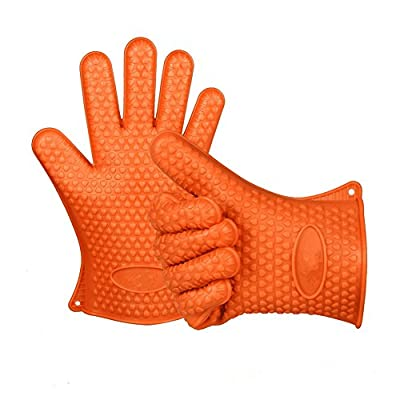 BBQ Grilling Gloves,Silicone Max Heat ResistantKitchen glove,Thick barbecue Oven Mitt Pot Holder Cooking Gloves ForGrill, Baking, Smoking & Potholder, And Protection Your Finger, Hand, Wrist