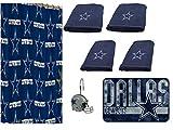 The Northwest Company NFL Dallas Cowboys 18 Piece Bath Ensemble: Set Includes 1 Shower Curtain, 12 Shower Hooks, 2 Bath Towels, 2 Hand Towels 1 Bath mat