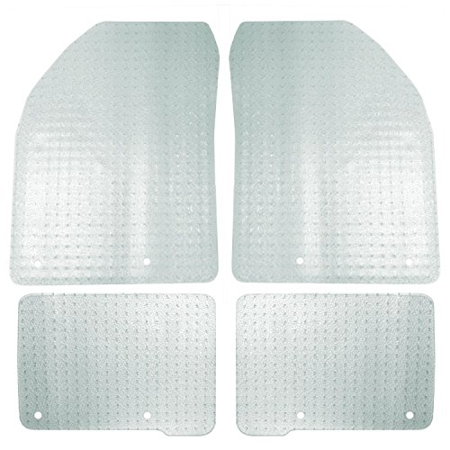 (Coverking Front and Rear Floor Mats for Select Jeep Grand Cherokee Models - Nibbed Vinyl (Clear))