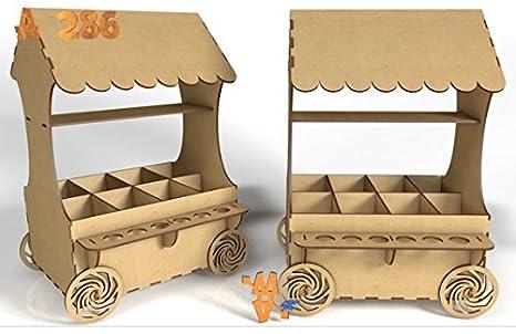 Kit para hacer carrito de chuches de madera DM para candy bar mesa dulce. Medidas