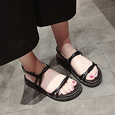 SOHOEOS Open Toe Sandales Plate-Forme Chaussures Épais Bottom Femme Été Nouveau Étudiant Mode Chevauchement Mot Boucle Plat Roman Chaussures En Plein Air Sport Casual Léger À Sec