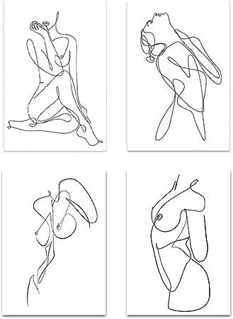 Set of 2 Female figure sketch Minimal Woman Art Printable Abstract Printable Wall Art Art Line Illustration Black /& Beige
