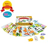 Picnmix Toddler Toys & Kindergarten Learning Games - Happy Farm Velcro Toys for 2 Year Old & Up - Eco-Friendly Plastic Learning Board Games w/ Velcro Stickers - Educational Puzzle Games for Kids