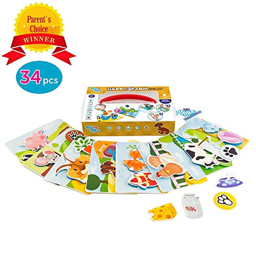 Picnmix Toddler Toys & Kindergarten Learning Games - Happy Farm Velcro Toys for 2 Year Old & Up - Eco-Friendly Plastic Learning Board Games w/ Velcro Stickers - Educational Puzzle Games for Kids by Picnmix