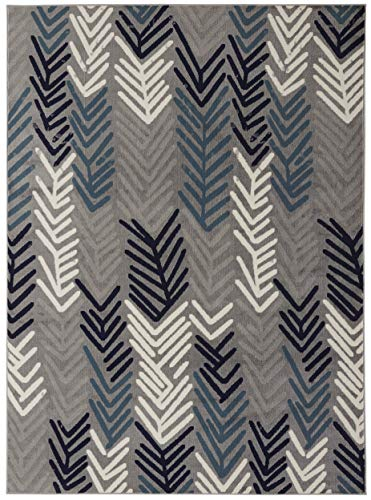 7#039 x 10#039 Area Rug Diagona Designs Contemporary Modern Floral Design Area Rug 79quot W x 111quot L Gray/Navy/Teal/Ivory JAS2053