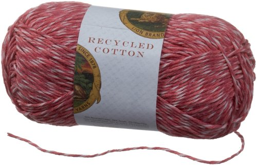 Lion Brand Yarn 482-141I Recycled Cotton Yarn, Rose - Recycled Yarn