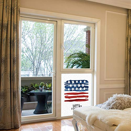 ALUON Frosted Window Film Stained Glass Window Film,4th of July Decor,Work Well in The Bathroom,Celebrating Background with Charming Stars Memorial Historic Digital,17''x24''