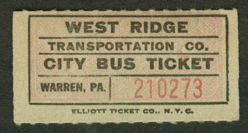 West Ridge Transportation City Bus Ticket Warren PA undated