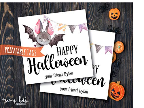 Moira Personalized Printable Halloween Bat Tags Watercolor Happy Halloween Tags Printable Watercolor Halloween Favor -