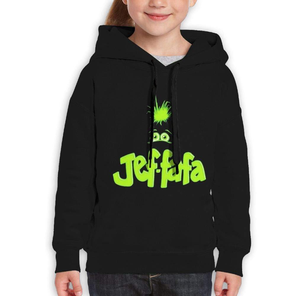 MUPTQWIU Teen Boys JEF FAFA Pattern Funny Hiking Black Sweater