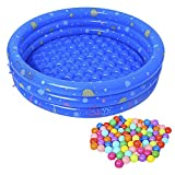 Baby Pool, Inflatable Swimming Pool with 50Pcs BPA Free Crush Proof Plastic Ball for Babies Toddlers Outdoor Indoor Activities Garden Parties (Blue)