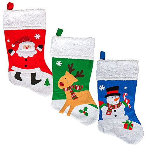 Christmas Stocking 3 Pack by ColorBoxCrate - Three 18 Inch Felt Christmas Stockings in Stitched Holiday Themes, Red Santa Stocking, Green Rudolph Stocking, Blue Snowman Stocking with Fleece Cuffs -