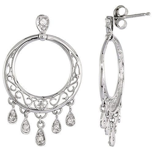 14k White Gold Chandelier Earrings for Women Diamond Drops Filigree Design 0.16 ct 1 1/4 ()