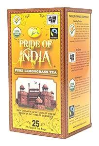 Pride Of India Organic Lemongrass Tea, Decaf, 25 Tea Bags