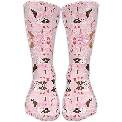 HISHFA Women's Boxer Love Bug Cupid Costume Dog Breed Fabric Pink Model Knee High Nursing Travel Comfortable Compression Socks, Women's Shoe Size 5-10 -