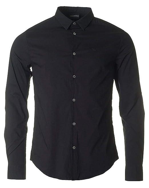 4f786162ce Emporio Armani Uomo Camicia Slim Fit Stretch Nero S: Amazon.it ...