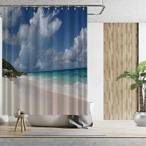 ALUONI White Sand Beach on Bermuda Islands Bathroom Curtains Shower,092078 for Hotel,72''W x 79''H
