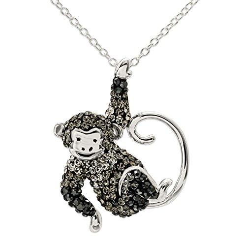 "Crystalogy Women's Jewelry Sterling Silver Swarovski Multicolor Crystal Monkey Animal Pendant Necklace, 18"" Chain by Crystalogy"